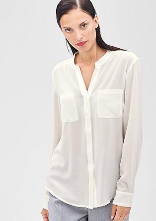 Bluza iz krepa z detajlom iz ripsastega traku