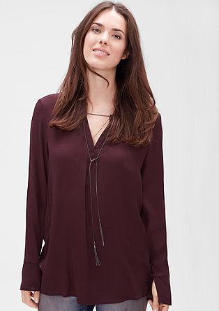 Bluza iz krepa z detajlom ogrlice