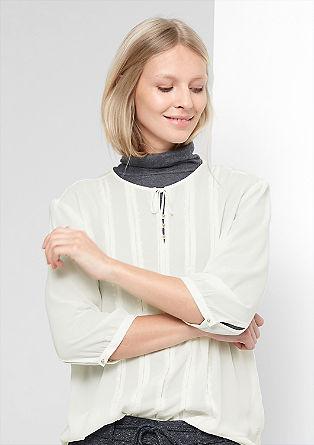 Bluza iz mešanice materialov z vezenino