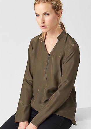 Bluza iz svilene mešanice z daljšim zadnjim delom