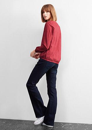 Bluza s posebnim učinkom barvnega pranja in s tkano teksturo