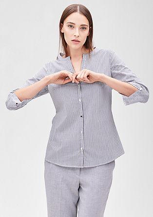 Bluza s strečem in izrezom v slogu tunike