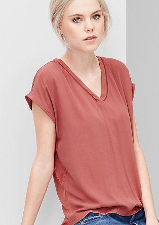 Bluzna majica s krepom in podaljšanim zadnjim delom