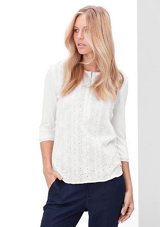 Bluzna majica z luknjičasto vezenino