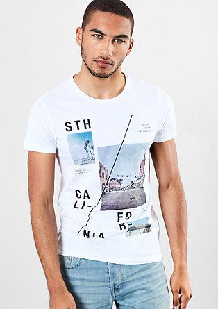 Bombažna majica z natisnjenim kolažem