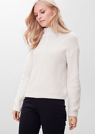 Bombažni pulover s stoječim ovratnikom