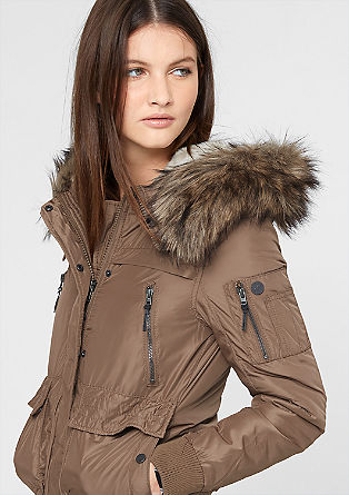Bomber jacket with a fake fur hood from s.Oliver