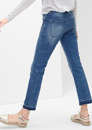 Bootcut Ankle: jeans in een used look