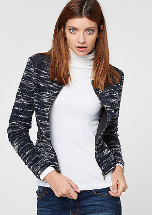Bouclé blazer with imitation leather from s.Oliver