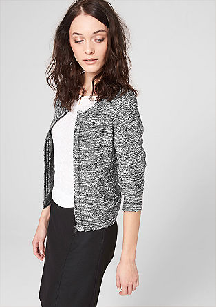 Bouclé-Cardigan im Black&White-Look