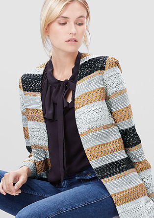 Bouclé jacket in the style of a long blazer from s.Oliver