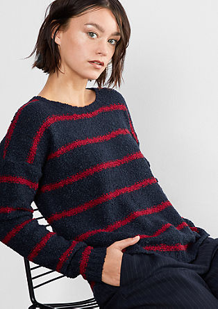 Bouclé jumper with stripes from s.Oliver