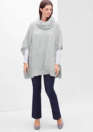 Bouclé poncho with a polo neck from s.Oliver