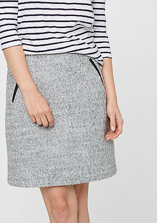 Bouclé skirt with imitation leather details from s.Oliver