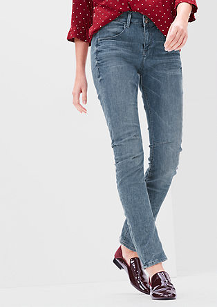 Bowleg: Stretch-Denim mit Doppelknopf