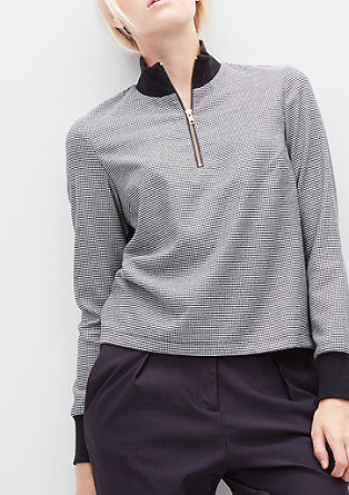 Boxy-Bluse mit Dog's Tooth Check