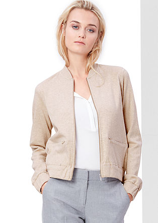 Boxy sweatshirt jacket with a zip from s.Oliver
