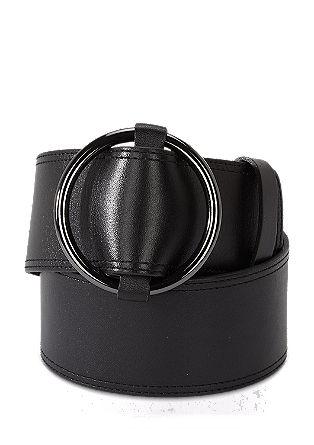 Breiter Ledergürtel mit runder Schließe