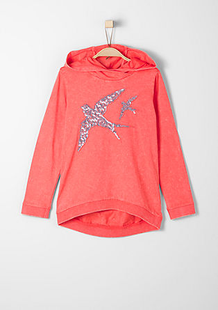 Brightly coloured hoodie with sequins from s.Oliver