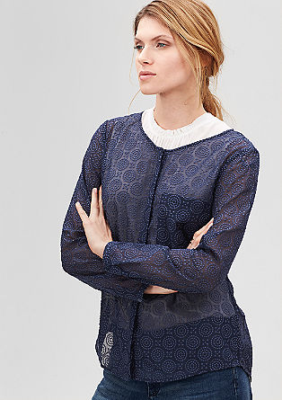 Button-fastening lace blouse from s.Oliver