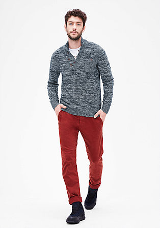 Button neck jumper in a melange knit from s.Oliver