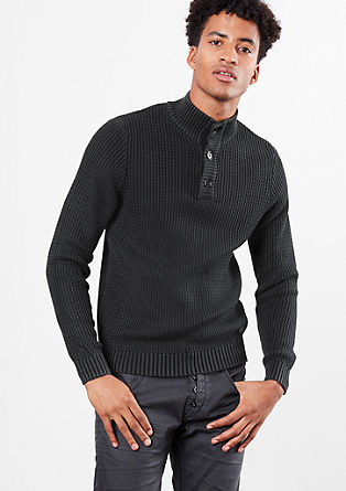 Button neck jumper in a textured knit from s.Oliver