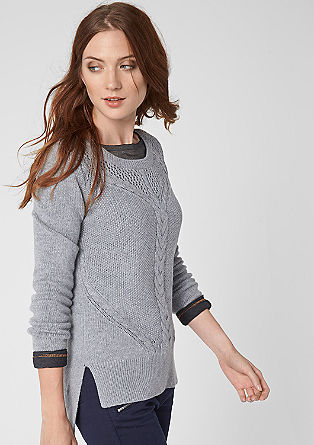 Cable + openwork knit jumper from s.Oliver