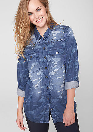 Camouflage look denim shirt from s.Oliver
