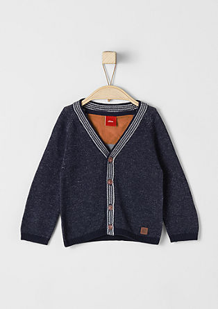 Cardigan with a striped hem from s.Oliver