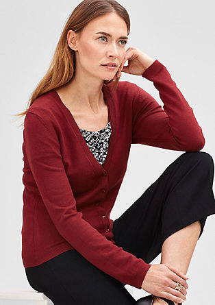 Cardigan with double-layer ribbed trims from s.Oliver