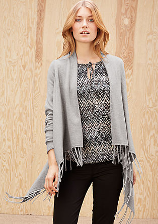 Cardigan with long fringing from s.Oliver