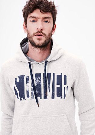 Casual hoodie met labelprint