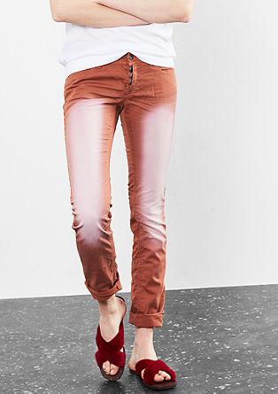 Catie slim: broek met een garment-washed effect