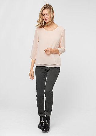 Catie slim: jeans met doorgestikte details