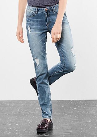 Catie slim: Jeans met slijtageplekken