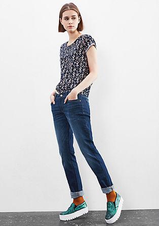 Catie Slim: Jeans z gumbom rožnate barve