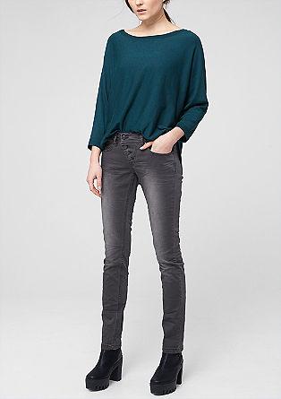 Catie slim: slim fit broek met used look