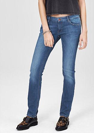 Catie slim: slim fit jeans met een used look