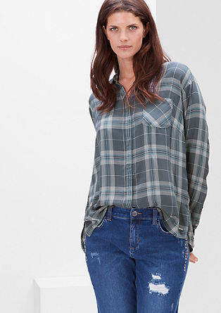 Checked blouse top in viscose from s.Oliver