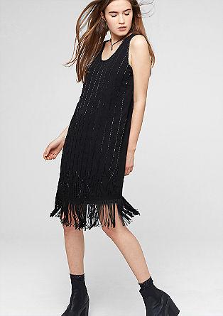 Chiffon jurk met kralen en franjes