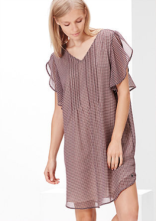 Chiffon jurk met volantmouwen