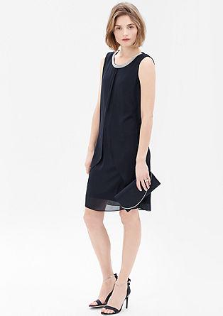 Chiffon-Kleid mit Schmuckblende