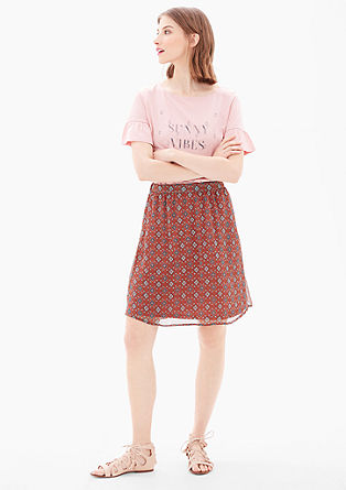 Chiffon rok met all-over motief