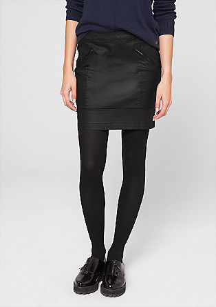 Coated denim mini skirt from s.Oliver