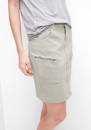 Coloured denim skirt with zips from s.Oliver