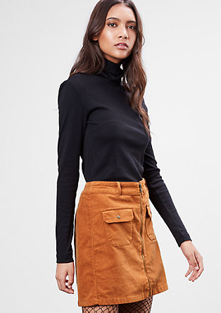 Corduroy skirt with a front zip from s.Oliver