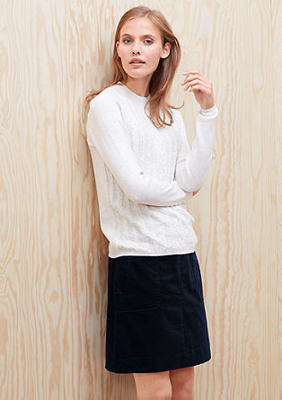 Corduroy skirt with piped pockets from s.Oliver