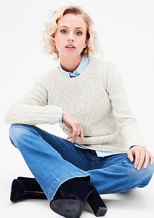 Cotton jumper made of fancy yarn from s.Oliver