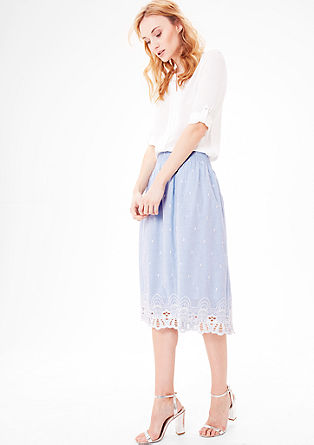 Cotton skirt with embroidery from s.Oliver
