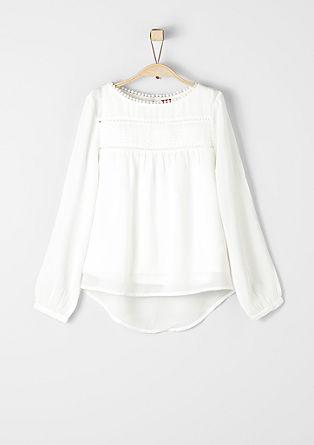 Crêpe blouse met ajourmotief